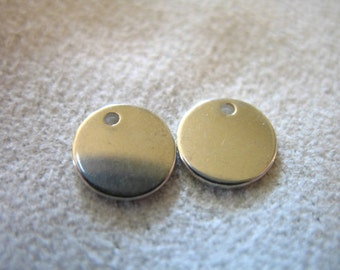 Shop Sale..2 pcs, 7 mm, Sterling Silver Metal Blanks Discs Sequins, 20 gauge THICK Circle Blanks - wholesale, jewelry stamping blank7