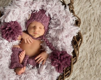 Loganberry Newborn Girl Chunky Double Pom Pom Hat Photography Prop, Baby Props, Newborn Prop, Photo Props, Handmade Hat, Purple, Girls