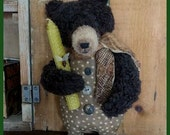 PRIMITIVE FOLK ART Teddy Bear Doll with Antique Quilt Tie and Beeswax Candle with Bee ~ Polka Dot Outfit