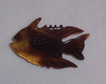 Vintage Tortoise Shell Fish Pin or Brooch