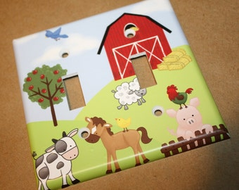 Farm Animal Baryard Horse Cow Sheep Pig Rooster Boys Girls Bedroom Double Light Switch Cover