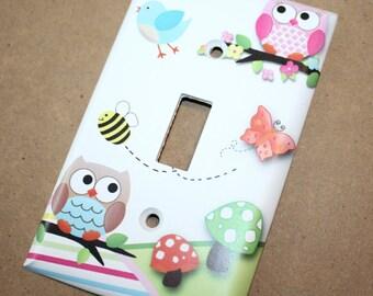 Twin Owls Girls Boys Birdies Bees Butterflies Bedroom Single Light Switch Cover LS0064