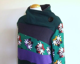 SALE!! MICKEY - Hoodie Sweatshirt Sweater - Recycled Upcycled - One of a Kind Women - LARGE