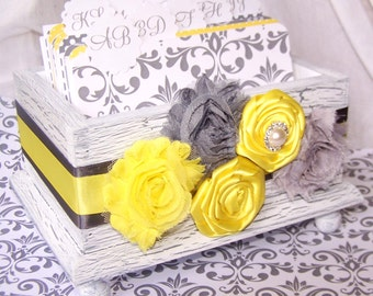 GUEST Book Box, Dividers, Advice Box, Yellow and Gray wedding, White Shabby Chic Box, Vintage inspired, custom colors available