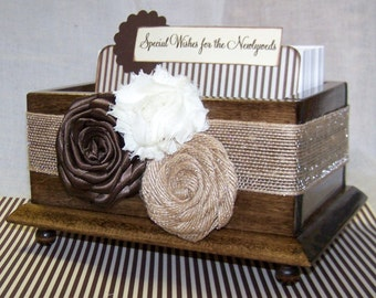 GUEST Book Box, Advice Box, Burlap Wedding, Rustic Brown Wedding, Wooden Walnut Box, Brown and Ivory, Custom Colors