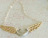 Fingerprint Jewelry - Silver heart and Silver Angel Wings Necklace - Solid wings...2 necklaces