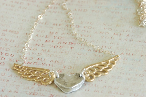 Fingerprint Jewelry - Silver heart and Silver Angel Wings Necklace