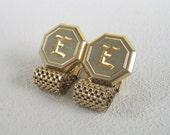 Vintage Mesh Monogram Letter E Cuff Links Gold & Stainless