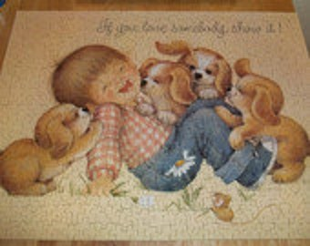 Vintage Springbok Jigsaw Puzzle Playful Puppies 1980 Complete