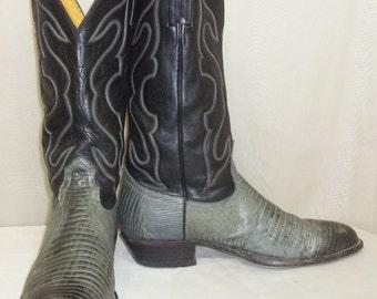Vintage Mens Nocona Lizard Leather Cowboy Western Boots 9 1/2D Black Grey