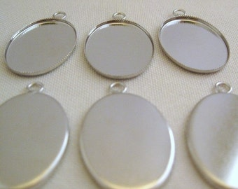 Silver Bezel Pendant Settings 18mm x 13mm - Small (6)