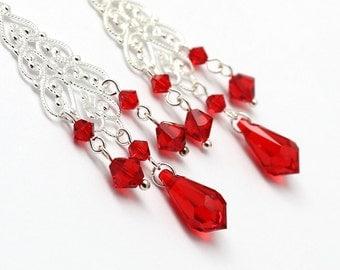 Red Chandelier Earrings, Long Earrings,Light Siam Swarovski Crystal Silver Plated Filigree Post Earrings, Bridal Bridesmaids Jewelry