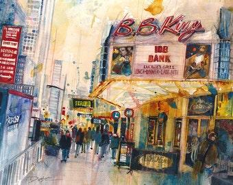 BB KINGS, New York City Watercolor Print