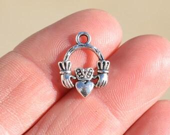 10  Silver Claddagh Charms SC1580
