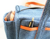 Blue Tote  Zipper Craft Caddy Supply Pouch Lunch Bag with short handles and outside pockets of sturdy upholstery fabric