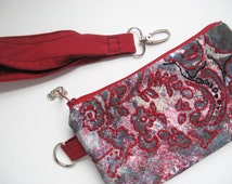 Denim Bag with lace print and hand embroidery red wristlet pouch of upcycled blue denim OOAK