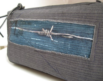Gray pouch or clutch, brass zipper, two compartment small pouch, art on bag, grunge bag, unisex pouch