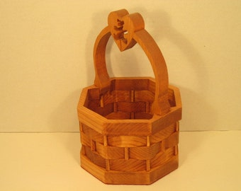 Basket With Heart & Bear in Handle Handmade