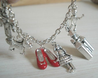 Wizard of Oz Charm Bracelet Silver Charm Bracelet Jewelry Dorothy Red Shoes Toto