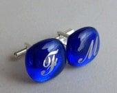 Custom monogrammed Cufflinks - Platinum initials on blue cobalt fused glass