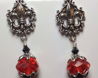Fleur-de-lis and Crystals in Red and Black