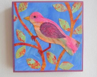 "Original pink bird mixed media collage on 6"" x 6"" wood panel"