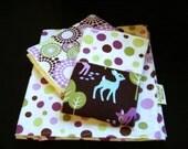 Dots and Deer - Receiving Blanket and Burp Cloths
