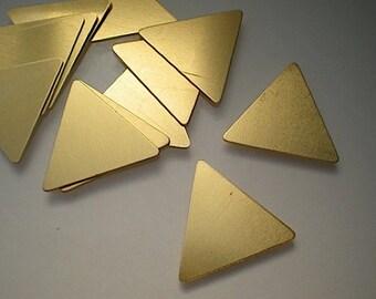 "NEW SIZE - 12 medium flat brass triangle stamping blanks, 1"""