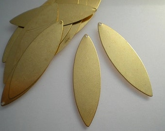 12 large flat brass marquise/petal stamping blanks