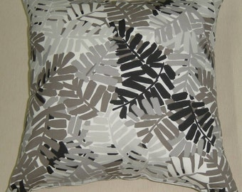 pillow throw pillow sunbrella stripes print outdoors indoors pillow palm leaf grey black shabby chic SALE