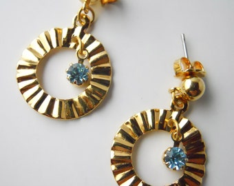 RIDGED CIRCULAR HOOPS with blue rhinestone- post earrings
