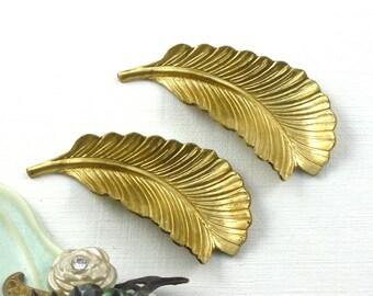 4 LEAF jewelry brass embellishments . 38mm x 17mm (ST33) . Please read description