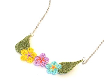 Crochet Flower Necklace in Yellow, Lavender, and Pale Teal