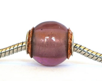 Big Hole Bead fits Troll Biagi and ALL European Charm Slider Bracelets - Copper Capped Light Amethyst  BHB
