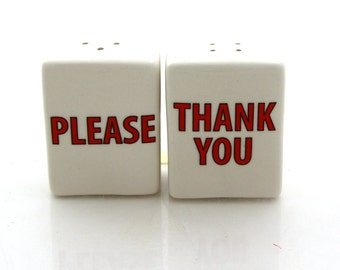 salt and pepper shakers please and thank you, manners, tabletop, on SALE