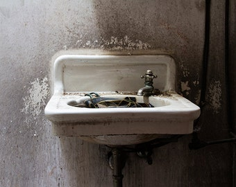 Sink Photograph, Bathroom Decor, Bathroom Art, Abandoned Photography, Urbex Art, Urban Decay, Industrial, Theater Photograph, Gift Under 50