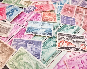 GRAB BAG .. 3 cent extra postage .. UNused Vintage Stamps .. 50 stamps