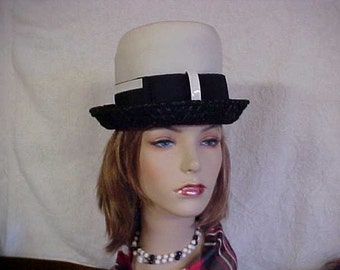 Black straw and white linen cloche -bucket hat with union label- fits 21 1/2 inches