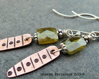GATOR - copper, sterling silver, textured, stamped, bali, green garnet earrings