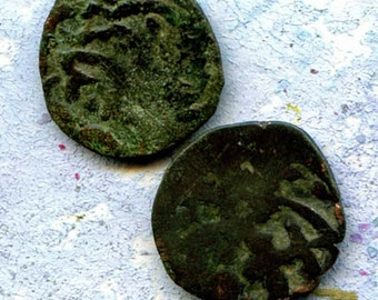 2 UNCLEANED coins from a dig,antique objects, something  curious, antique metal coin, coolvintage, collectibles, patina, old, age,14K