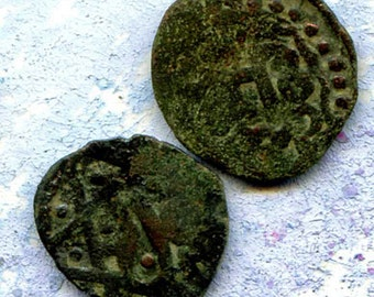 2 UNCLEANED coins from a dig,antique objects, something  curious, antique metal coin, coolvintage, collectibles, patina, old, age, 29K
