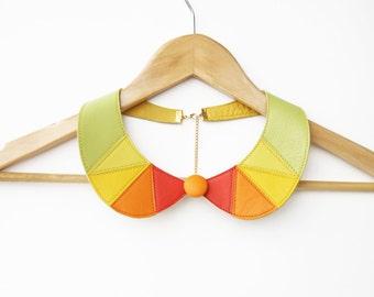 Leather Bib Necklace Peter Pan Detachable Collar Geometric Triangle Necklace Orange Green Yellow Citrus Necklace
