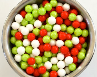Christmas  Pearl Candy Beads- Edible Cupcake Decorations (2 ounces)
