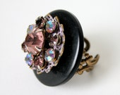 Lavender Jewel Ring - Recycled Jewelry Box Ring with Oversized Pink or Purple Gems - Fits Size 7 to 8
