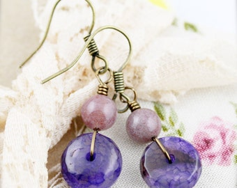 Purple rondelle earrings - agate and chalcedony