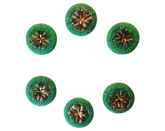Emerald Glass Vintage Buttons - 6 Antique 1940s Buttons