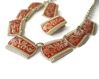 Red Enamel Necklace & Earrings Set Eloxal Aluminum Germany 1940's Goldtone