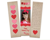 "Love Banner Valentine Bookmark   Photo Valentine Card Templates   Elements Photoshop Templates   2""x7"" Press Printed Bookmarks"