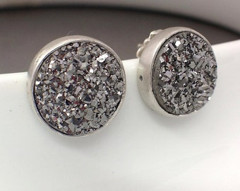 Silver and Drusy Stud Earrings