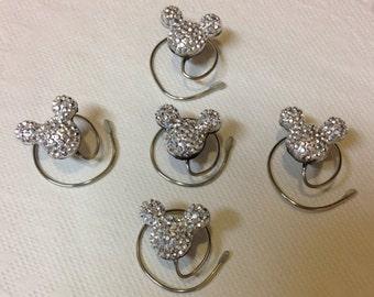 MOUSE EARS Hair Swirls for Disney Inspired Wedding in Dazzling Silvertone Acrylic